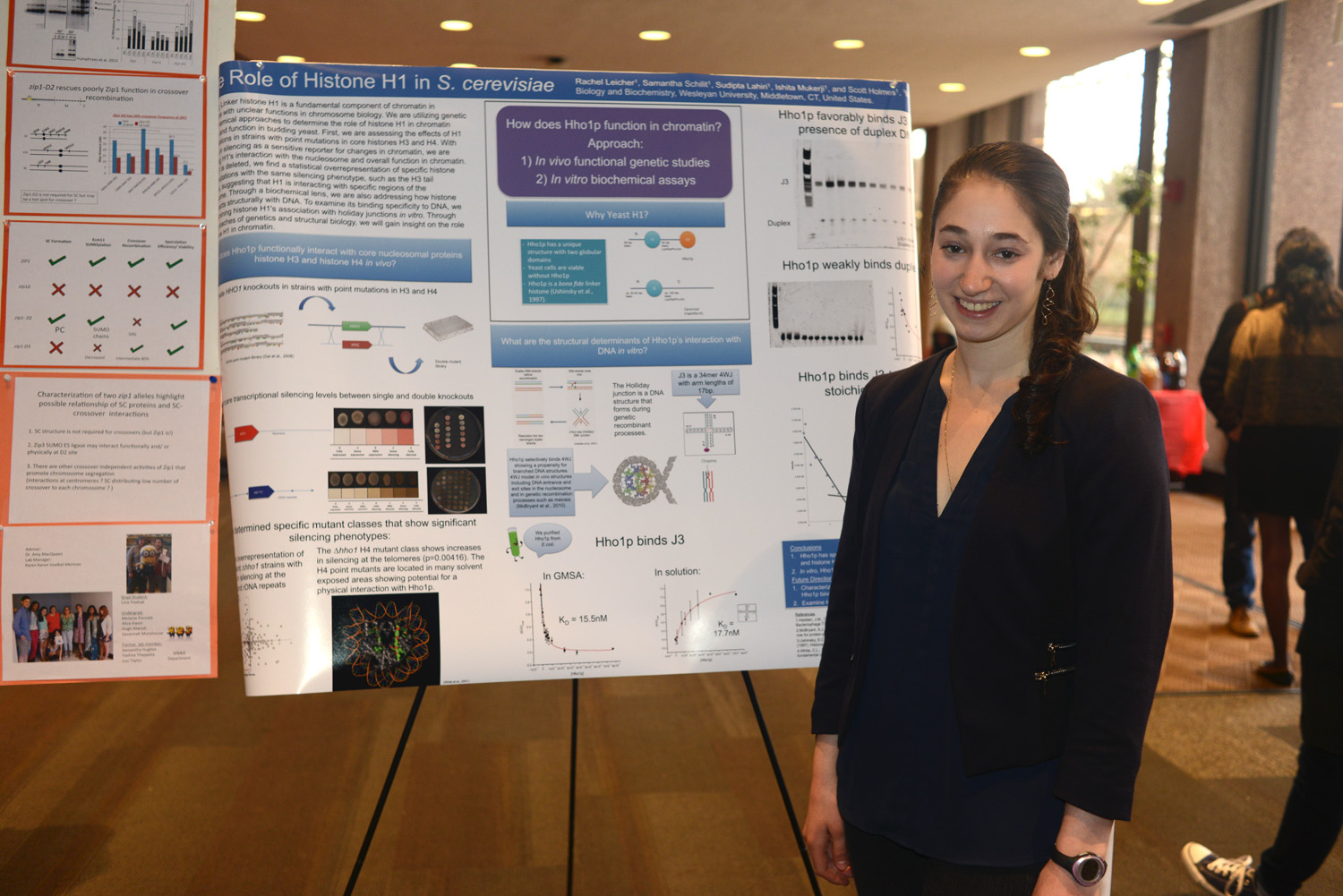 "Rachel Leicher '15 with her research, ""The Role of Histone H1 in S. cerevisiae."""