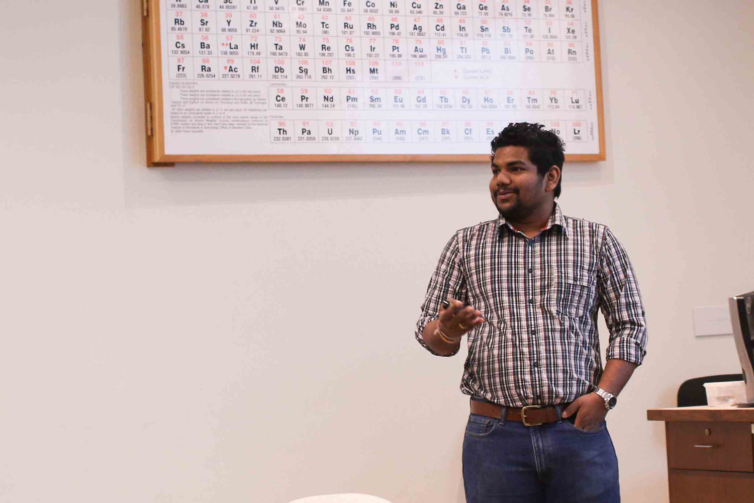 "Ranasinghe gave a talk titled ""Computational Chemistry: Chemistry Without Chemical."""