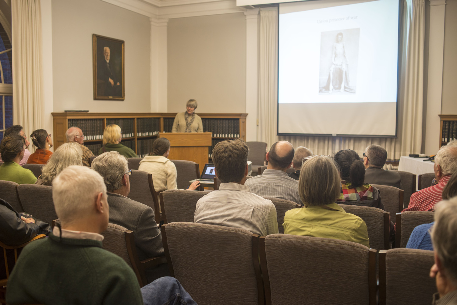 "Dione Longley '82 spoke about ""Heroes for All Time: Connecticut Civil War Soldiers Tell Their Stories,"" co-authored by Buck Zaidel,  on April 21 (Photo by Dat Vu '15.)"