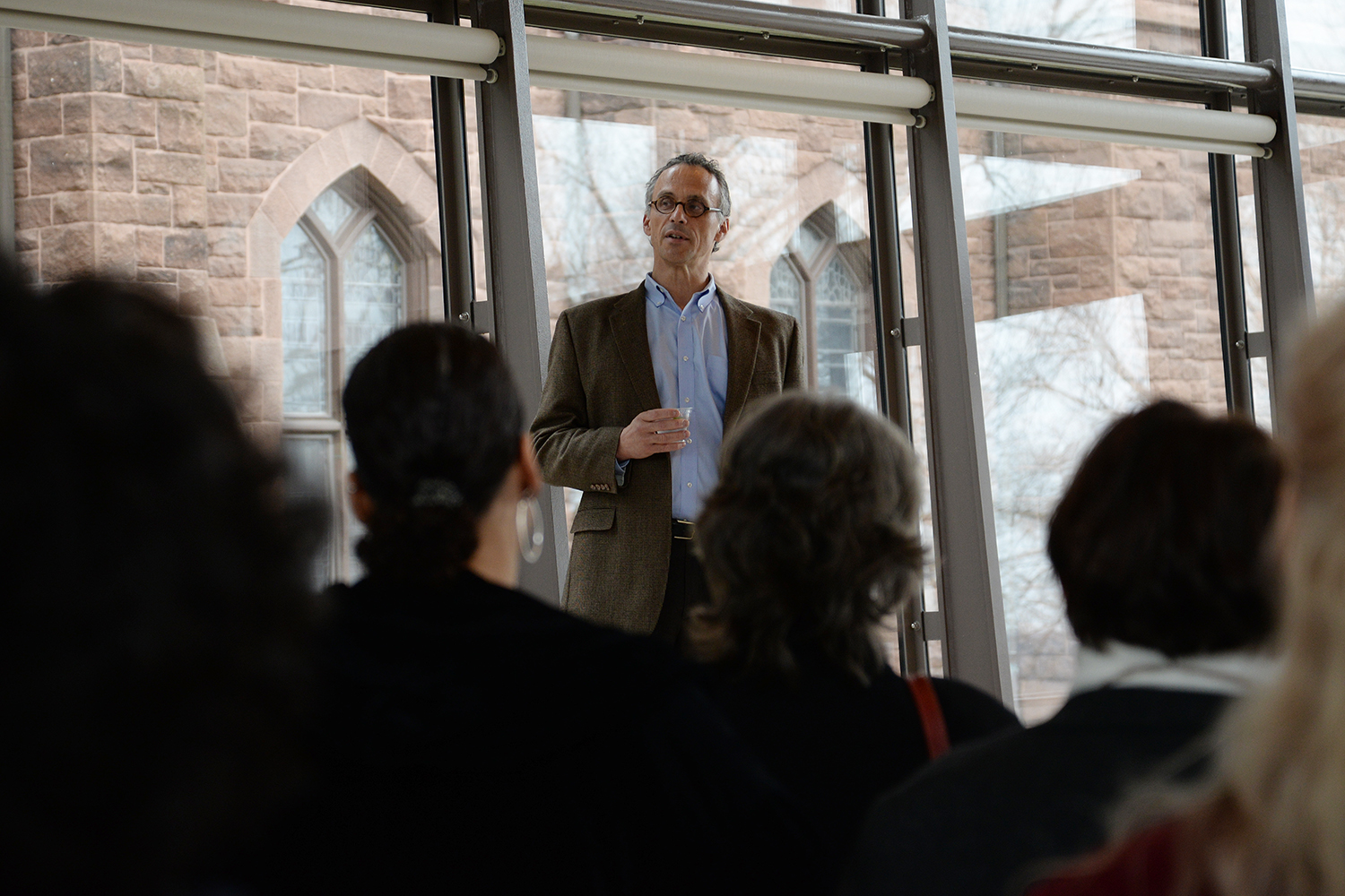 Wesleyan President Michael Roth spoke to Cardinal Achievement Award recipients March 31.