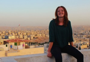 Aletta Brady '15 on a balcony overlooking Amman, Jordan. (Contributed photo)