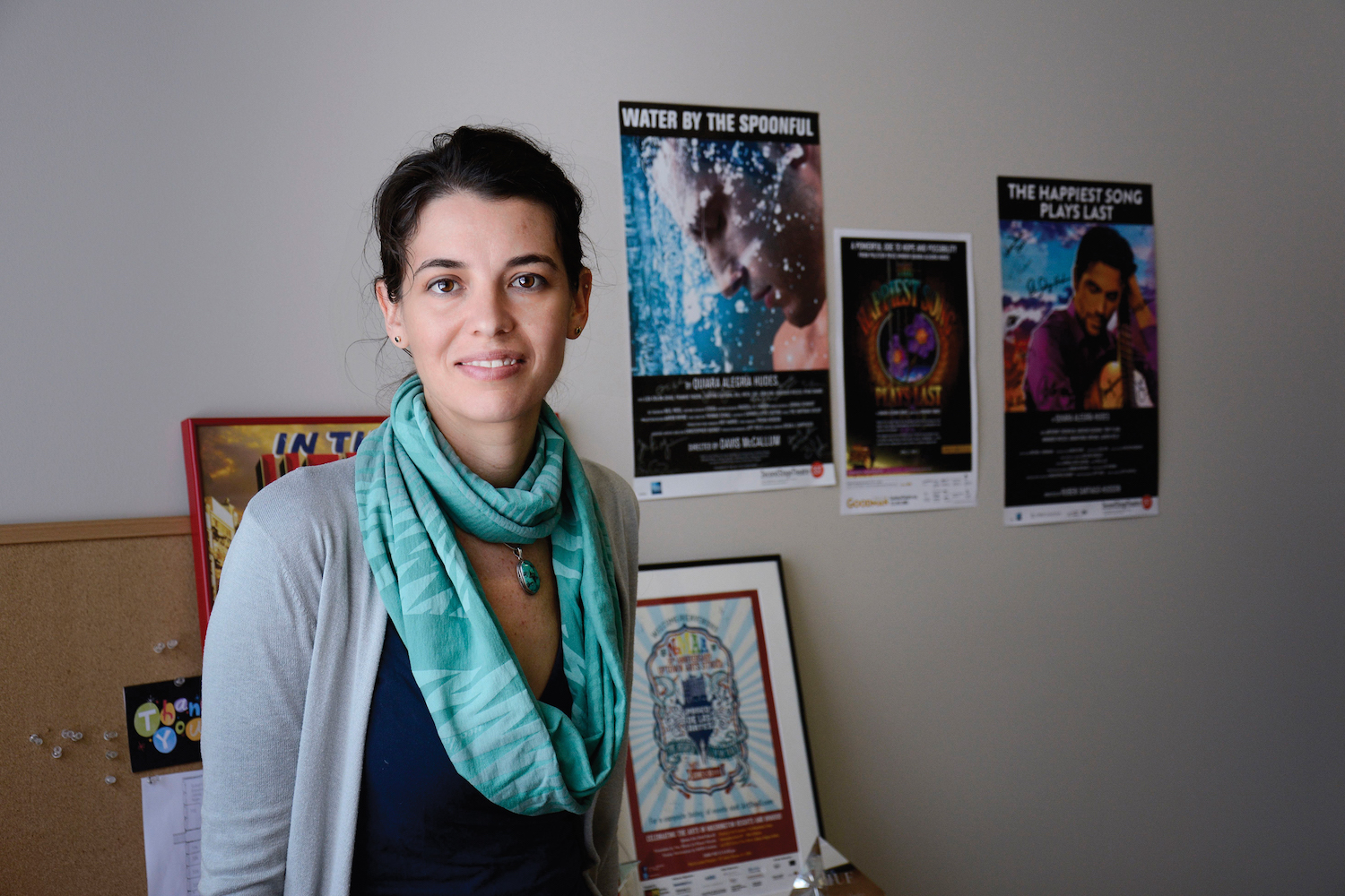 Nationally recognized playwright Quiara Alegria Hudes teaches playwriting at Wesleyan to beginning and advanced writers. (Photo by John Van Vlack)