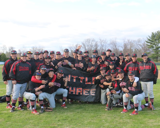 The 2015 Wesleyan baseball team at Amherst after winning the Little Three Championship in April. (Photo by Rick Dennett '77, P '15.)