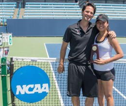 Eudice Chong '18 with Head Coach Mike Fried on the courts of the Lindner Family Tennis Center in Mason, Ohio moments after capturing the 2015 NCAA Division III women's tennis singles title. (Photo courtesy of Ohio Northern U.)