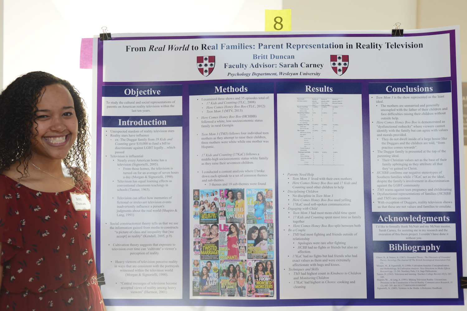 "Britt Duncan '15 with her poster on ""From Real World to Real Families: Parent Representation in Reality Television."""