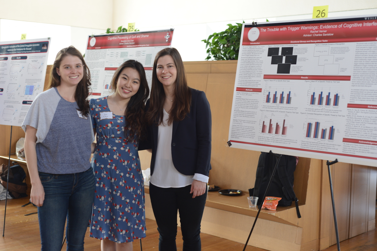 "From left, Aviv Fraiman '15, Shenghao ""Isis"" Chen '15, and Rachel Verner '15."