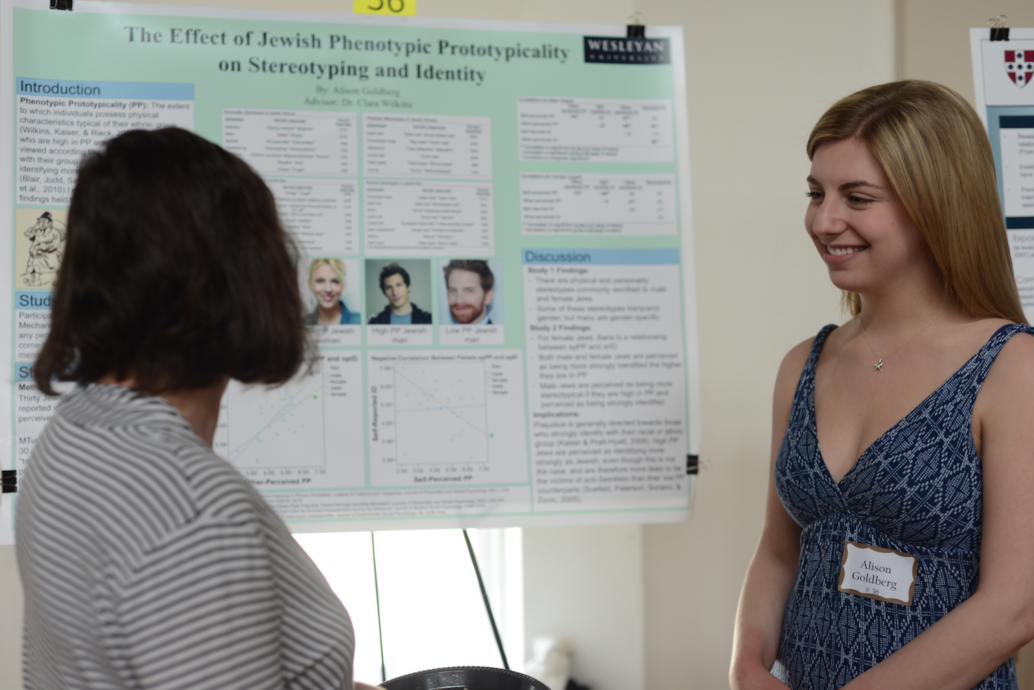 "Alison Goldberg '15 with her project, ""The Effect of Jewish Phenotypic Prototypicality on Stereotyping and Identity."""
