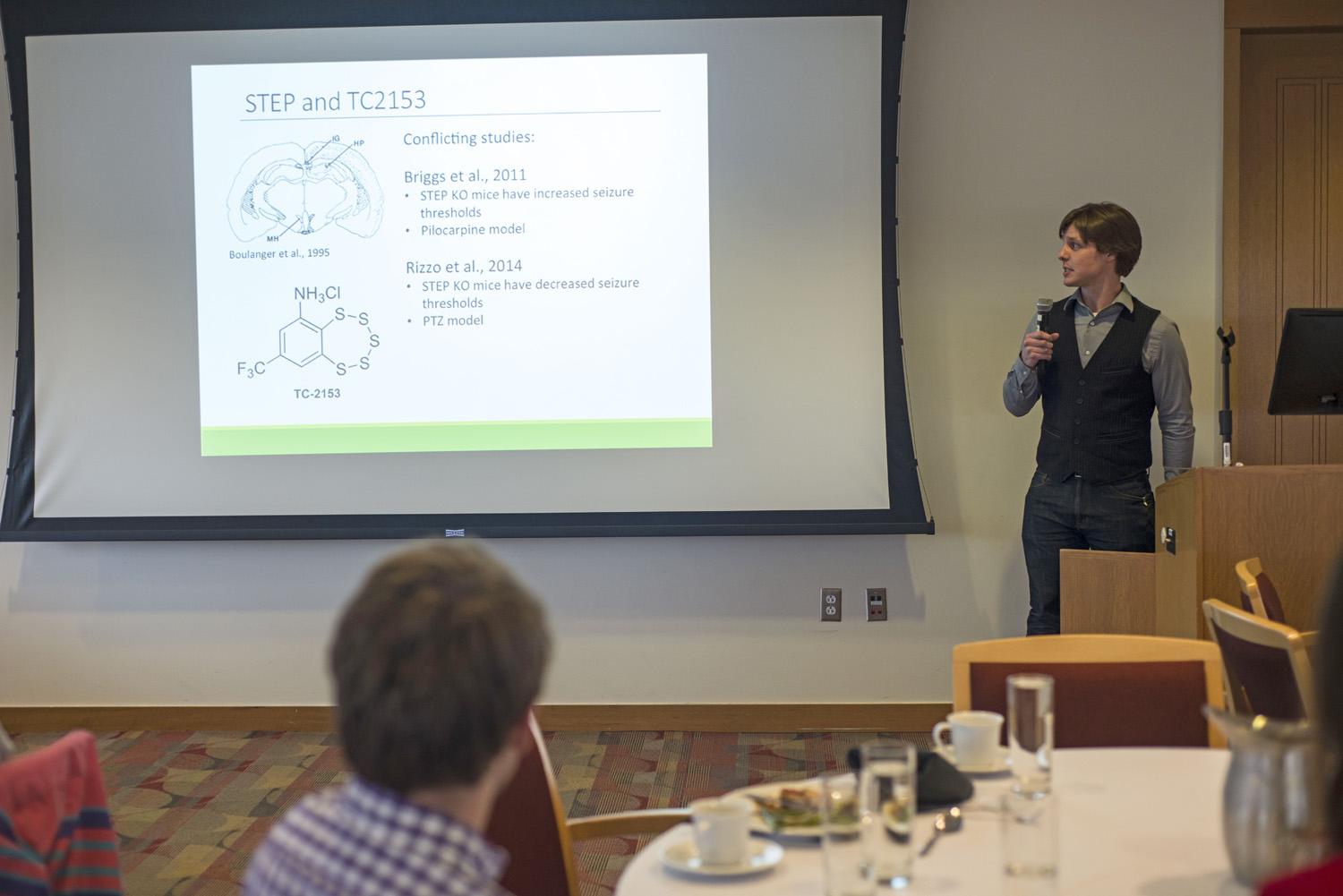 "Dan Lawrence '15 spoke on ""The Effects of Striatal Enriched Tyrosine Phosphates (STEP) Inhibition on Epileptogenesis."""