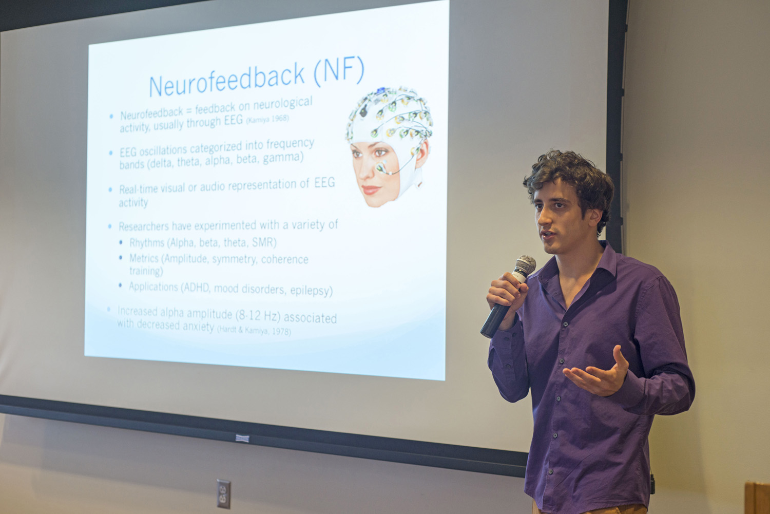 Matan Koplin-Green '15 spoke about his research on alpha neurofeedback training for the purpose of reducing anxiety levels.