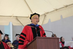 Wesleyan President Michael Roth speaks during Commencement.