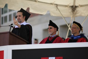 Lin-Manuel Miranda '02 delivering the Commencement address on May 24. (Photo by Rick Ciaburri)