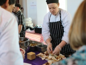Kate Caselli of Crowne Plaza made tacos.