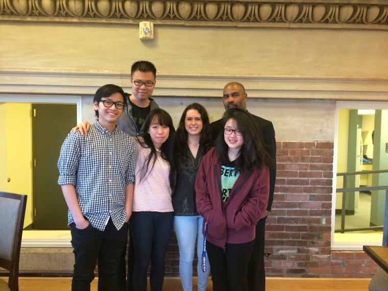 Members of Wesleyan's Interfaith Council attended a campus-wide interfaith dinner on April 25. Shown from left to right, Eki Ramadhan '16, Aobo Dong '15, Michelle Han '16, Lydia Ottaviano '17, Hiram Brett, Yale Divinity School intern in Wesleyan's Office of Religious and Spiritual Life, and Jamie Jung '16. (Photo by Tracy Mehr-Muska.)
