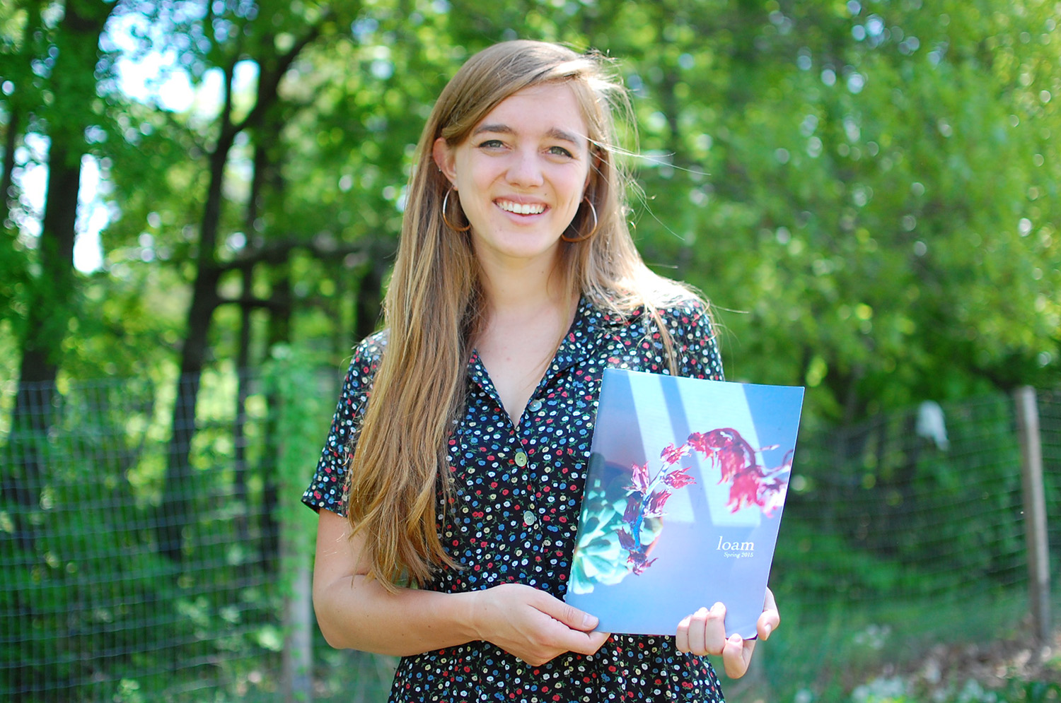 Nicole Stanton '15 is co-editor of Loam magazine. Loam celebrates Wesleyan's environmental activism and artistic expression of the student body. (Photo by Laurie Kenney)