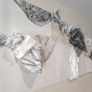 A drawing by Wesleyan alumna Hailey Sowden '15 is on display in Fayerweather this summer. The drawing is 3-D and is more than 10 feet long.