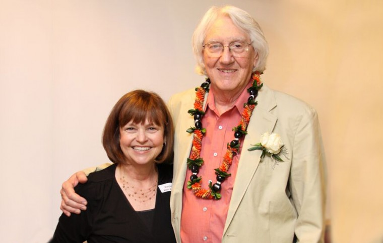 Jim Donady celebrated his retirement with several faculty and staff from the Biology Department including administrative assistant Blanche Meslin.