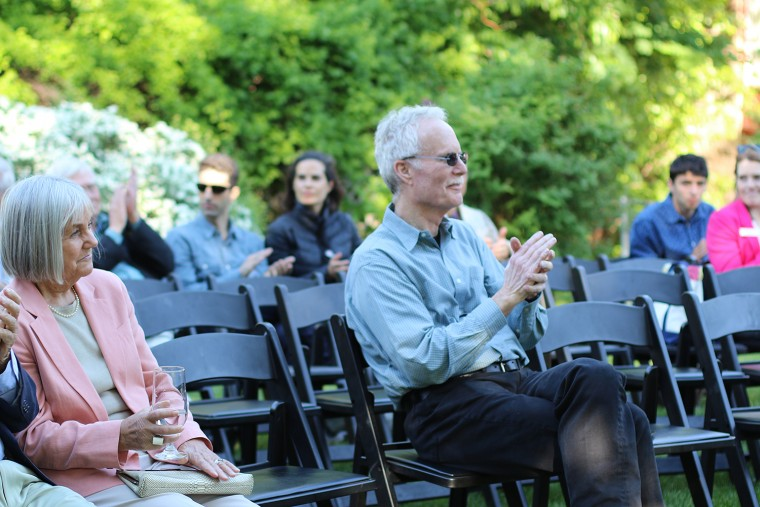Brian Fay, who joined the Wesleyan faculty in 1971 as an assistant professor of philosophy, was recognized at a reception on May 23. (Photo by Hannah Norman '16)