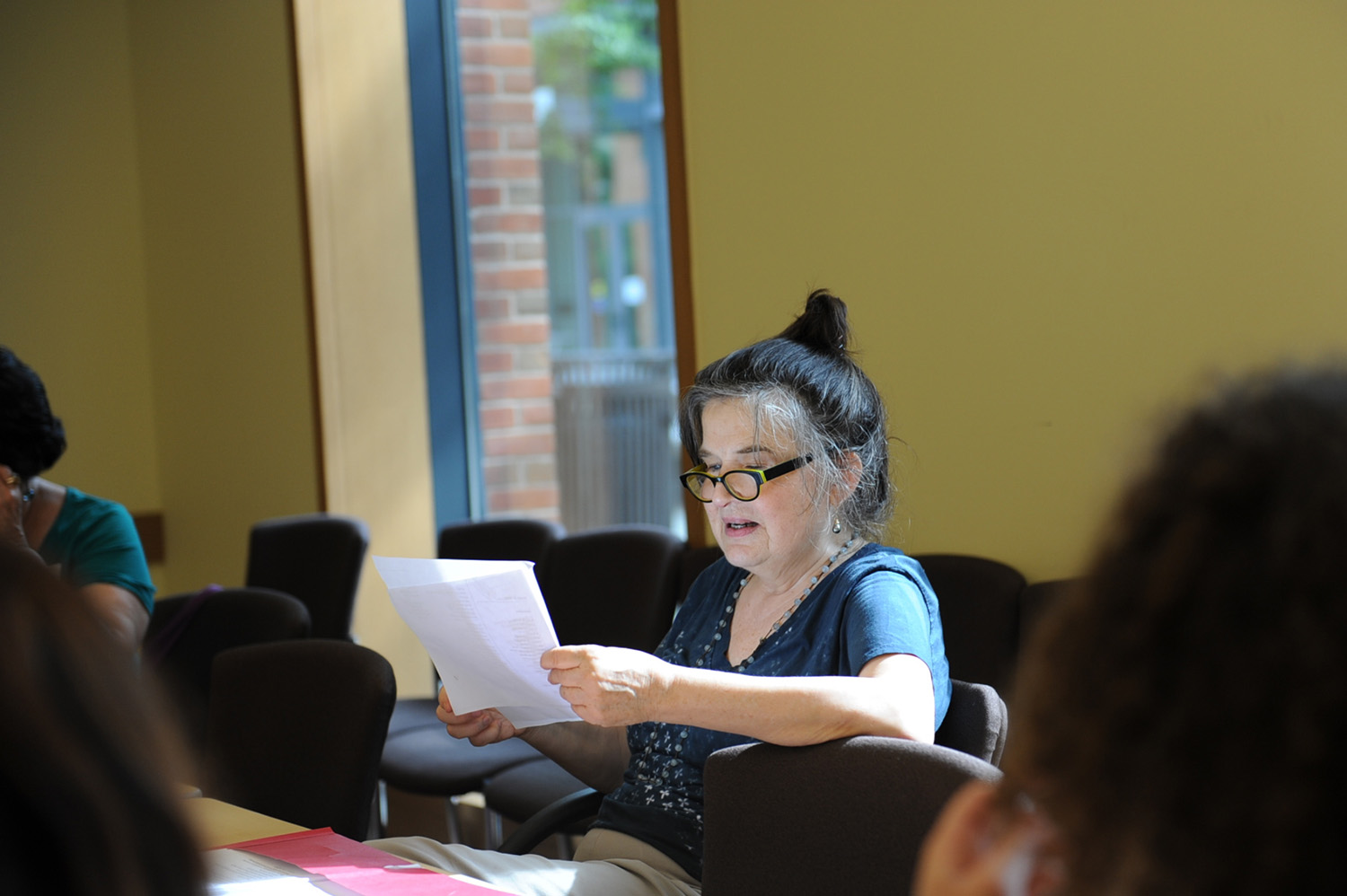 Honor Moore, author of three poetry collections and two memoirs, read poetry out loud during her June 11 poetry seminar.