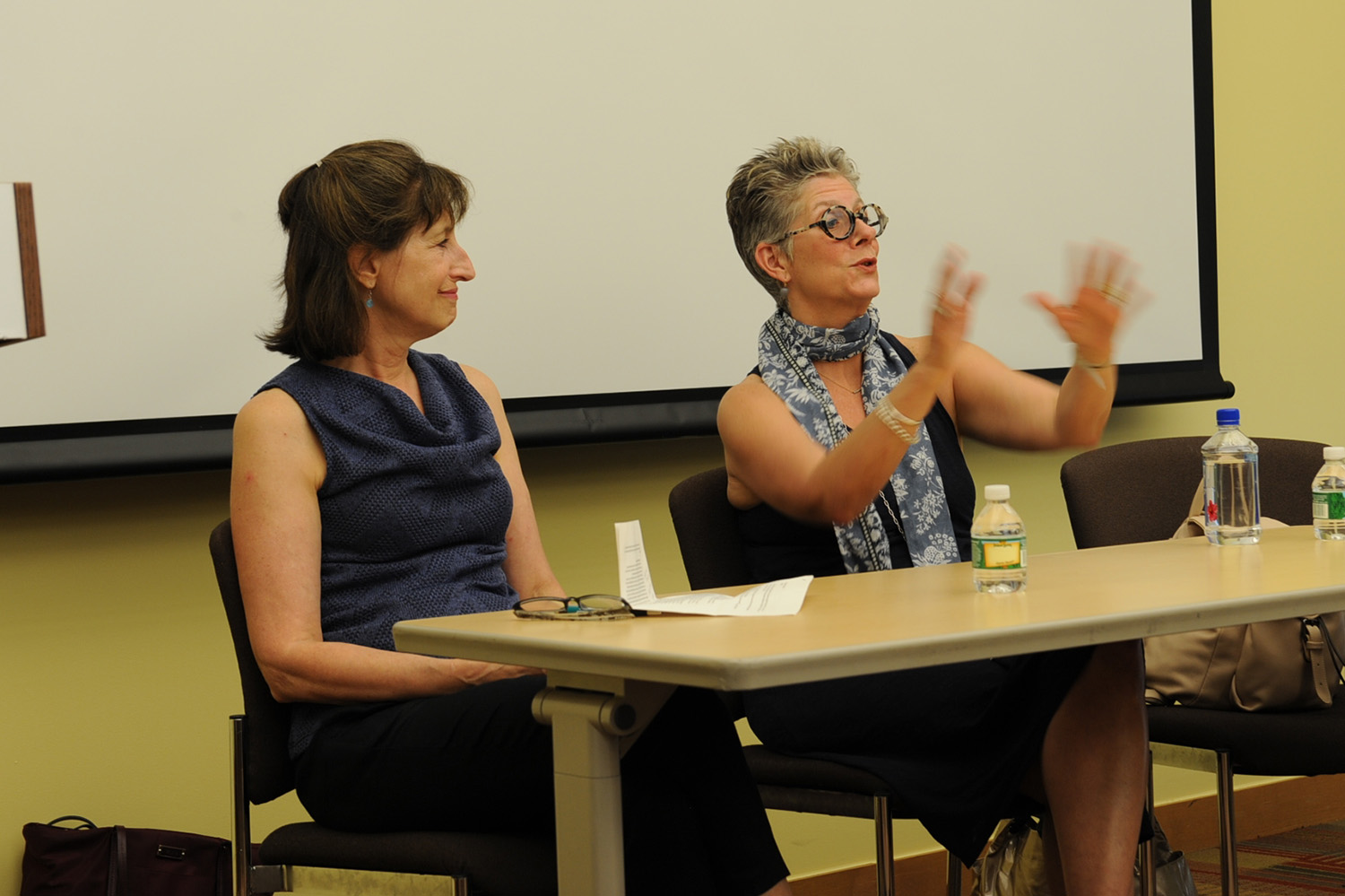 Literary agent Vicky Bijur '75 (left) and book editor Pamela Dorman '79 (right) provided insight into the publishing process.