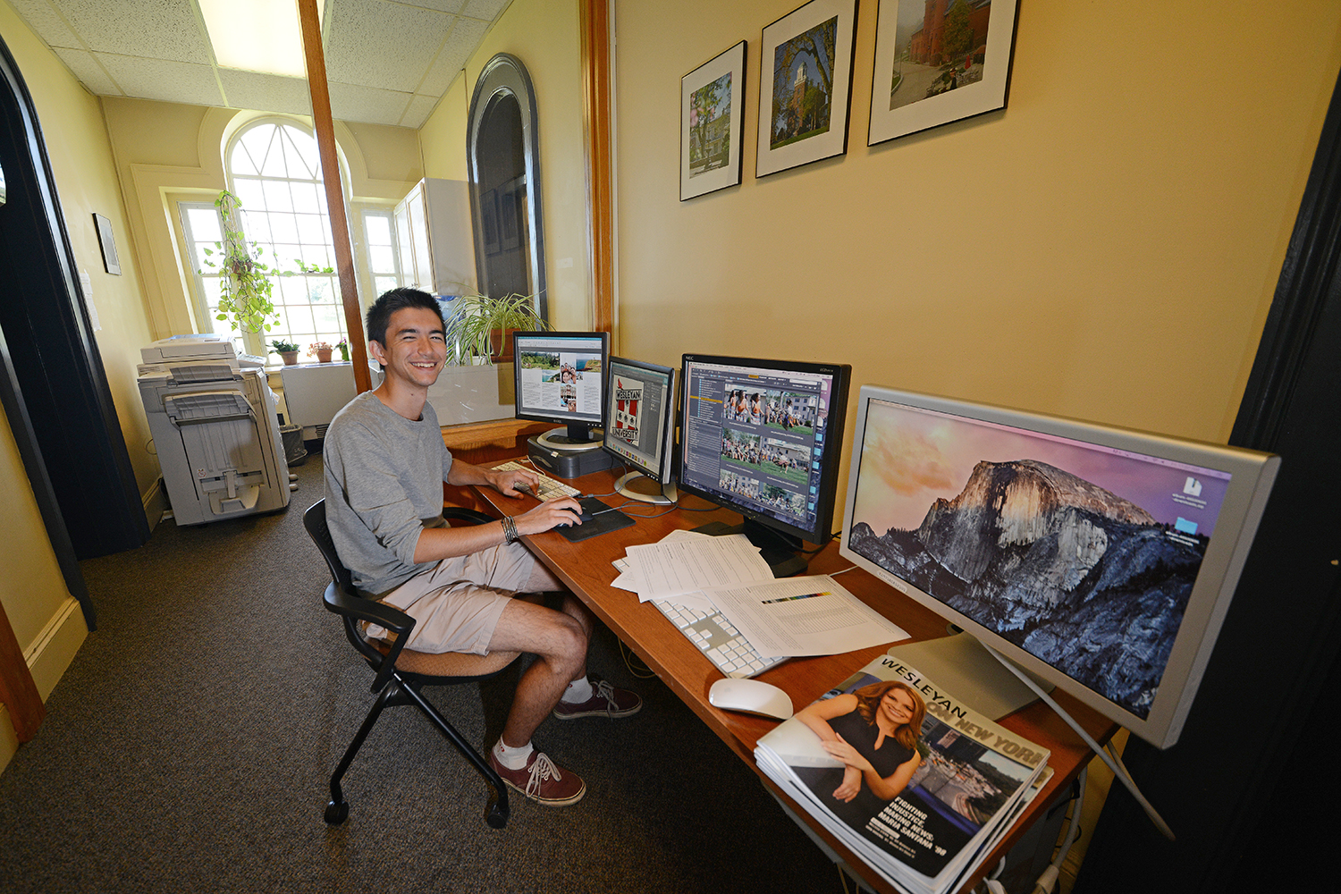 "During the year, College of Social Studies (CSS) major Ryden Nelson '16 is employed by the CSS and Pi Cafe, but he is working in the Office of University Communications as a publication production assistant for the summer. He helps proof and format the print media produced by the office for all the other departments on campus. ""I like this job because gives me a look into how the school tries to present itself to the community and the wider public. And I'm learning a fair bit about InDesign and Photoshop when I'm working on the more creative projects."""
