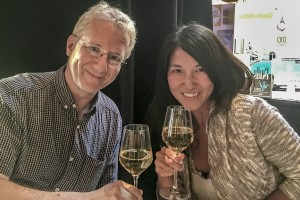 Bill Johnston and Miri Nakamura celebrating after the conference at the Terroir Paris restaurant.