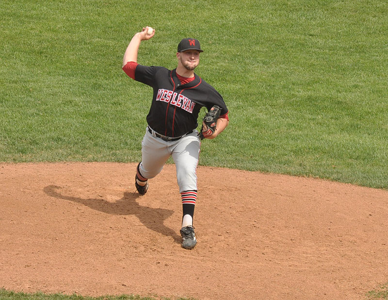 Gavin Pittore pitching for Wesleyan in Spring 2015.