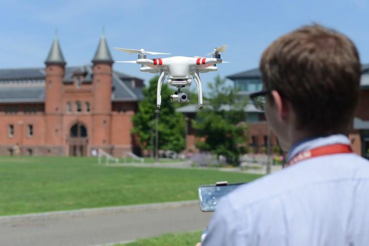 "David Schwartz operates the DJI Phantom 2 Vision+ drone ""that was very user-friendly and intuitive to learn,"" he said."