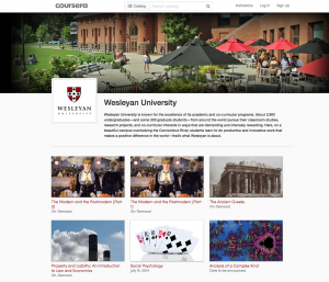 Wesleyan is the first small liberal arts college focused on the undergraduate experience to partner with Coursera.