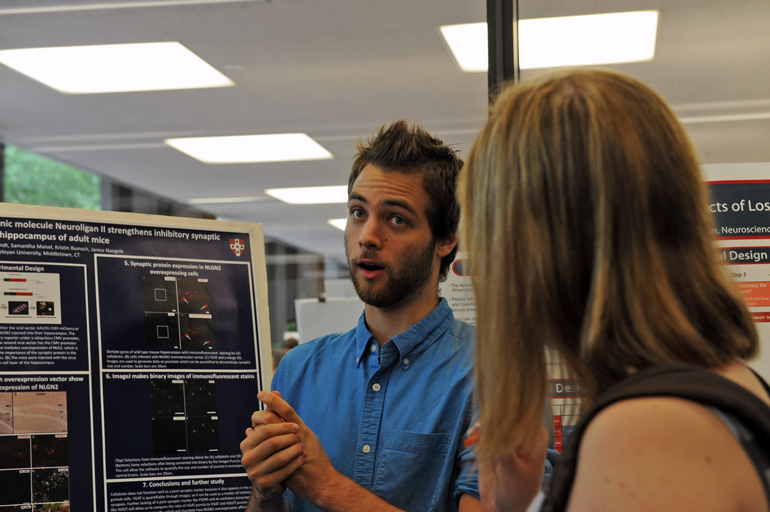 "A poster titled ""Immunohistochemical Analysis of Status Epilepticus Mice Treated with Striatal-Enriched Tyrosine Phosphatase Inhibitor"" was presented by Matt Pelton '17. His advisor is Janice Naegele, professor of biology, professor of neuroscience and behavior."