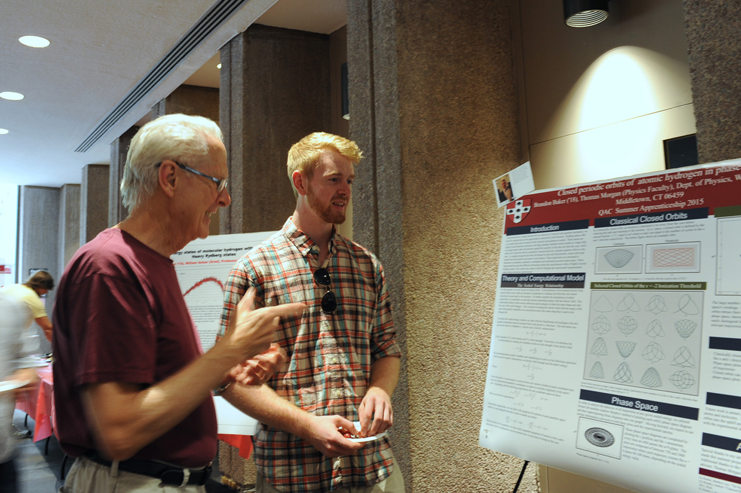 On July 30, the Wesleyan Summer Research Poster Session was held at Exley Science Center. More than 50 undergraduate research fellows presented research at the event. (Photo by Laurie Kenney)