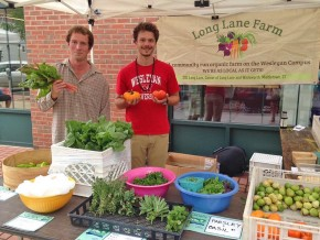 Connor Brennan '18 and Tony Strack '18 sold produce from Wesleyan's Long Lane Farm Aug. 21 at the North End Farmers Market in Middletown. Connor spent the summer working as an intern for the student run organic farm, which provides students with a place to experiment and learn about sustainable agriculture. The produce grown on Long Lane also is donated to Amazing Grace Food Pantry and served to students in Usdan University Center.