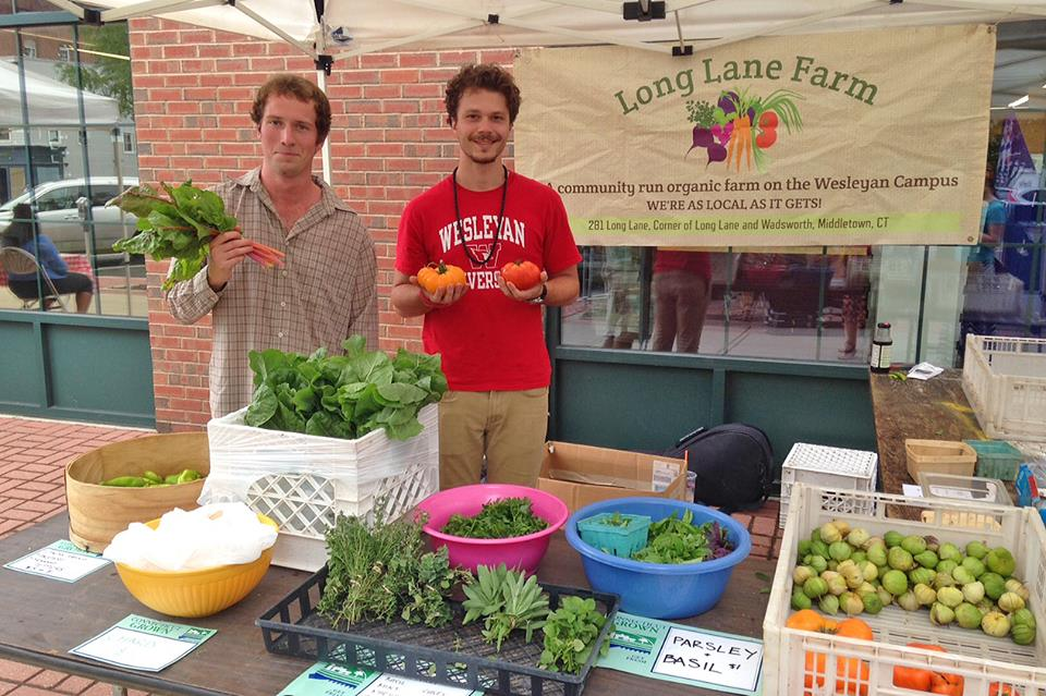 Connor Brennan '18 and Tony Strack '18 sold produce from Wesleyan's Long Lane Farm Aug. 21 at the North End Farmers Market in Middletown. Brennan spent the summer working as an intern for the student run organic farm, which provides students with a place to experiment and learn about sustainable agriculture.  The produce grown on Long Lane also is donated to Amazing Grace Food Pantry and served to students in Usdan University Center.