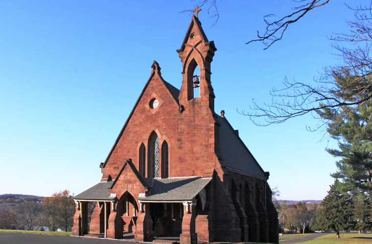 The Russell Chapel is located on the southwest hill of Indian Hill Cemetery in Middletown near Wesleyan.