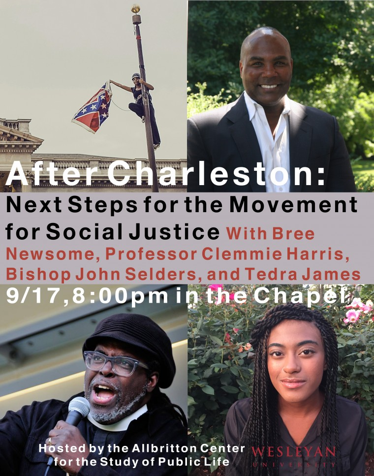 Pictured, from top, left to right: Bree Newsome, Clemmie Harris, Bishop John Selders and Tedra James '18 will lead a panel at 8 p.m. Sept. 17.  (Click to enlarge poster)