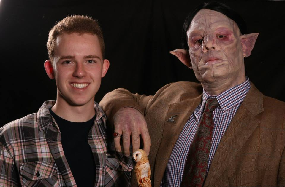 At left, James Forster '18 spend two months last summer at the Gorton Studios in the U.K. learning about film prosthetics and makeup effects. Pictured at right is an example of some his artistry.