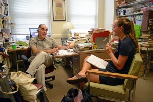 On Sept. 3, Meg Harrop '19 met with her academic advisor, Professor of Economics Richard Grossman, to discuss her fall semester pre-registaton enrollments and educational goals. The individual faculty advising appointments are part of New Student Orientation for the Class of 2019.