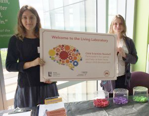 Research Assistant Anna Schwab '16 and Lab Coordinator Lonnie Bass represented the Cognitive Development Labs at the Connecticut Science Center.