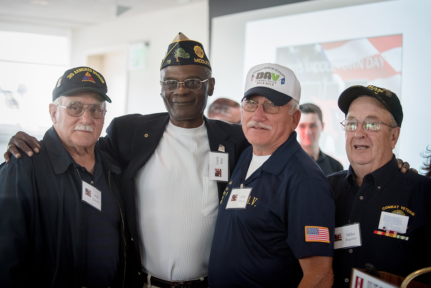 Area veterans were celebrated during Middletown Day at Wesleyan University, Sept. 26, 2015. (Photo by Jennifer Langdon)