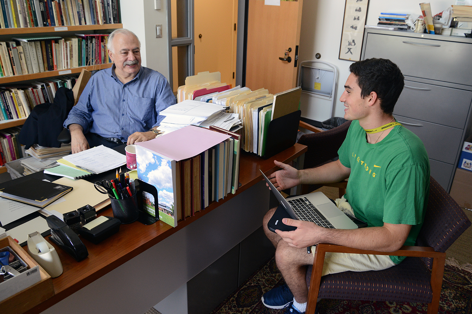 Khachig Tölölyan, director of the College of Letters, professor of letters, professor of English, met with John Cote '19.