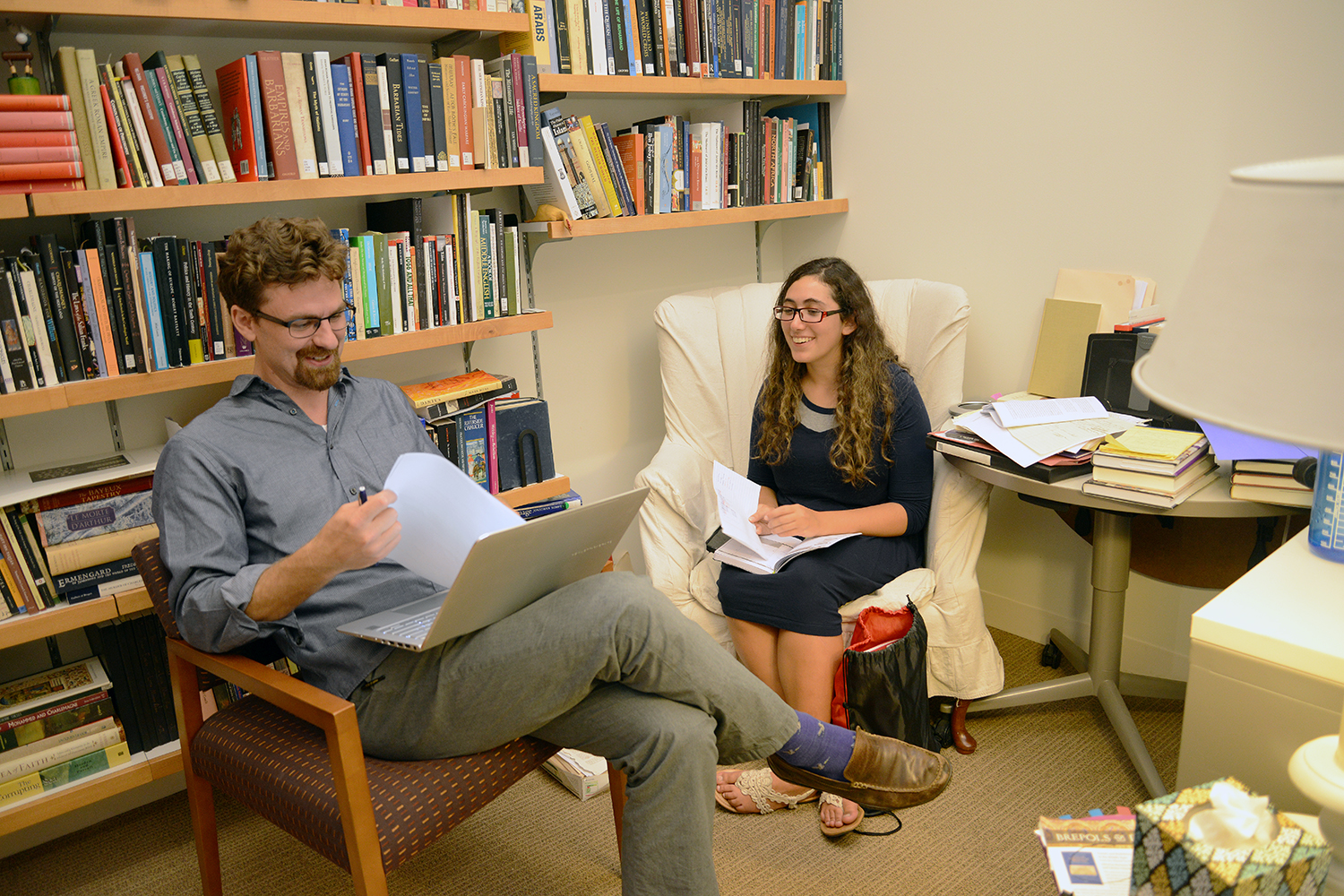Jesse Torgerson, assistant professor of letters, with Joy Feinberg '19.
