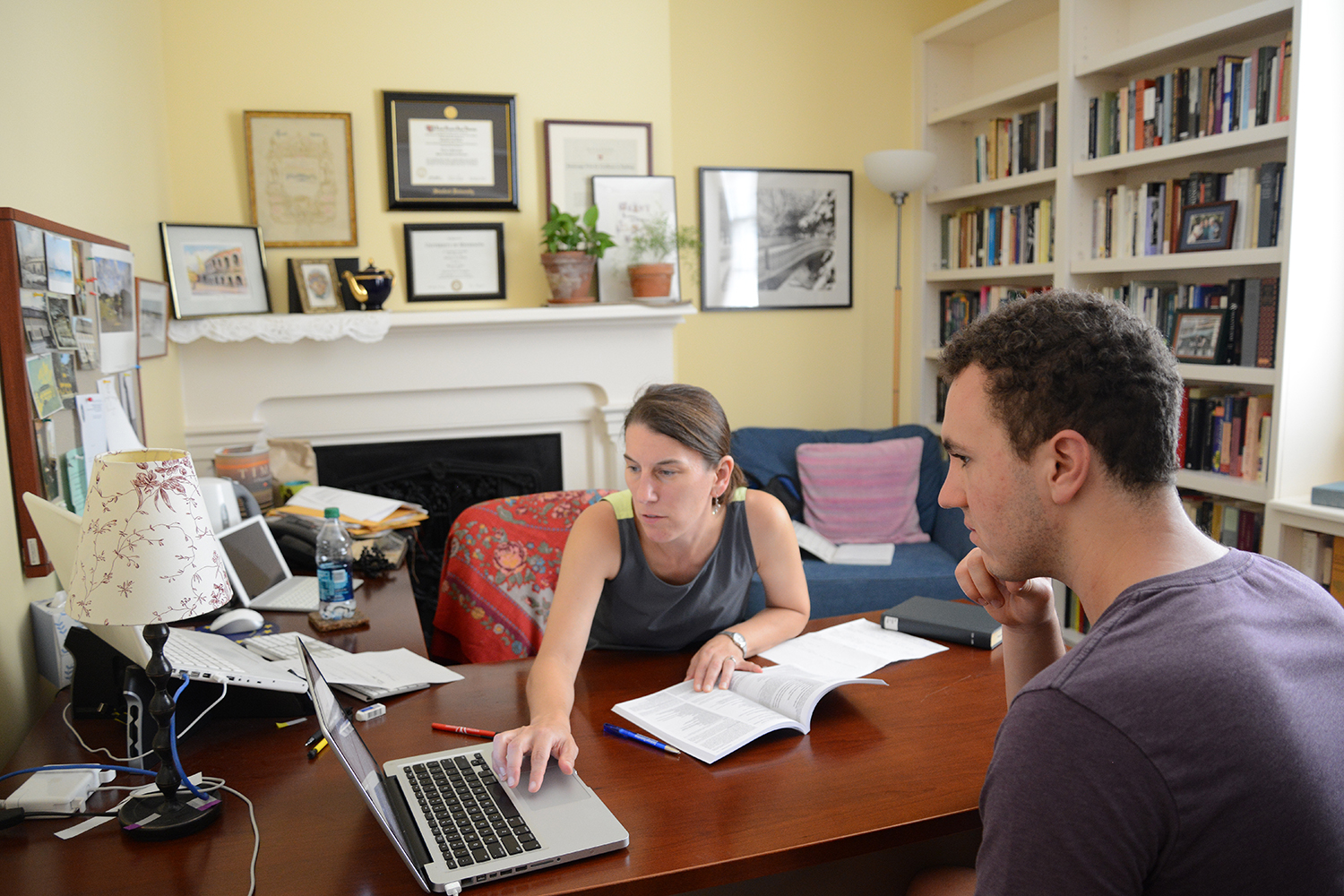 Stephanie Weiner, chair of the English Department and professor of English, met with Bobby Baldocchi '19.