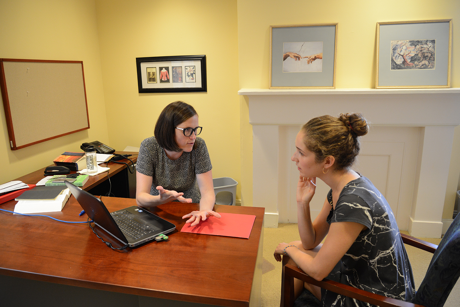 Courtney Weiss Smith, assistant professor of English, met with Catherine Albert '19.