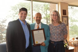 Pictured, Jay Hoggard (center) accepted his award from City of Middletown Mayor Dan Drew and Commission on the Arts Chair Jenny Lecce.