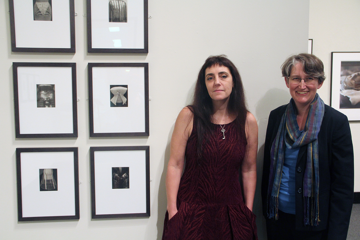 On Sept. 29, Artist Tanya Marcuse, at left, spoke about her exhibit, Phantom Bodies, on display at the Davison Art Center through Dec. 19. Pictured at right is DAC Curator Clare Rogan.