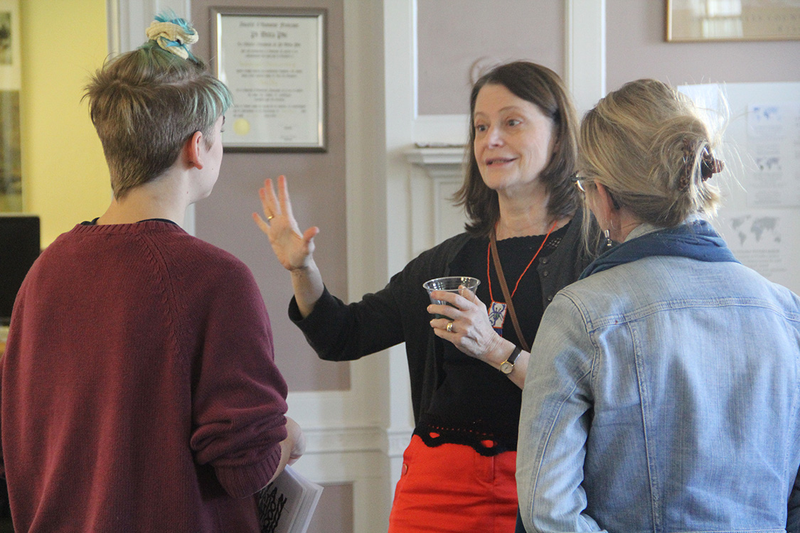 Several faculty met with current and prospective students to talk about the department, majors and concentrations.