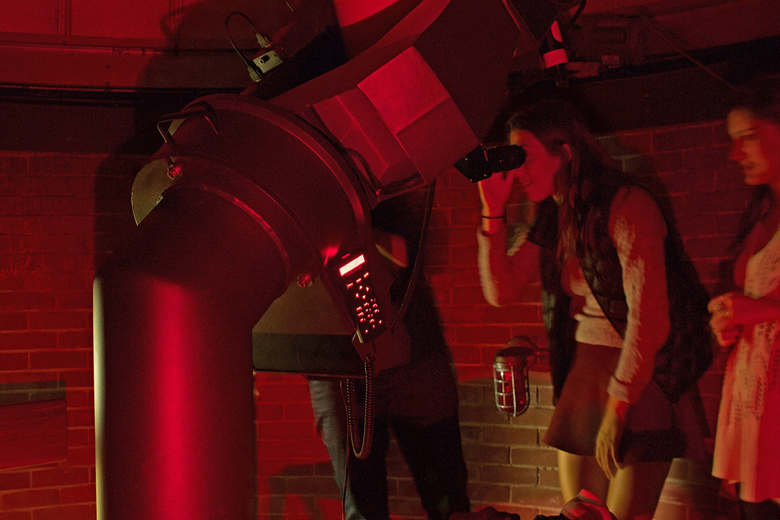 Students gather at the Van Vleck Observatory on October 8, 2015 for stargazing and hot chocolate sponsored by the Astronomy department.