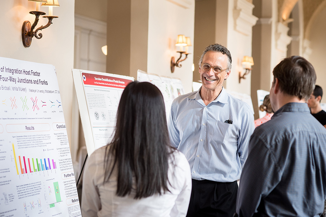 Wesleyan President Michael Roth attended the Molecular Biophysics Retreat Oct. 22 and spoke to students and graduate students about their ongoing research.