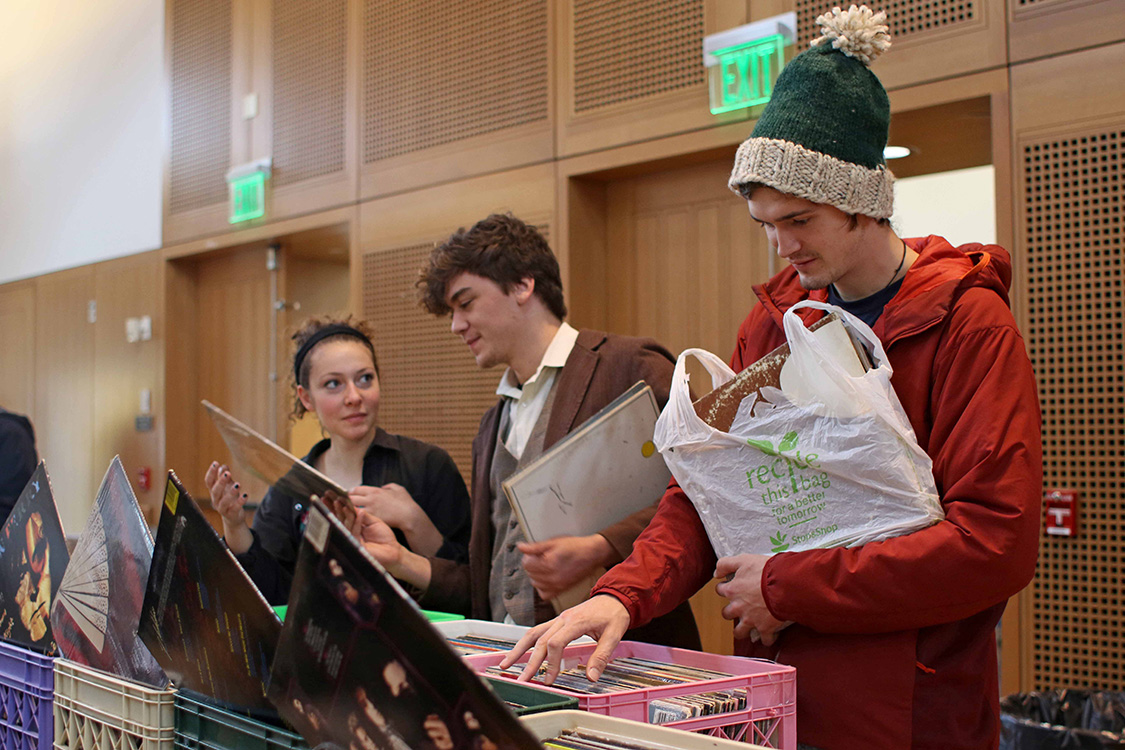 At right, Ryan Heffernan '16, loads up on some music purchases.