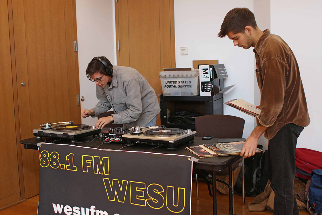 WESU DJs provided music during the day-long sale.