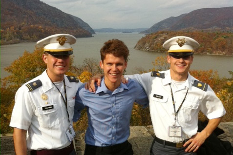 Lipton Galbraith '16 toured the West Point campus with two cadets who facilitated his discussion group.